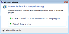 IE stops working – August 14, 2007