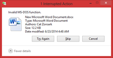 Invalid MS-DOS function – June 23, 2014