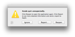 Xcode quit unexpectedly – March 1, 2013