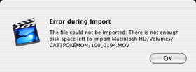iMovie Import Error – June 24, 2011