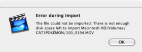 iMovie Import Error – November 16, 2007